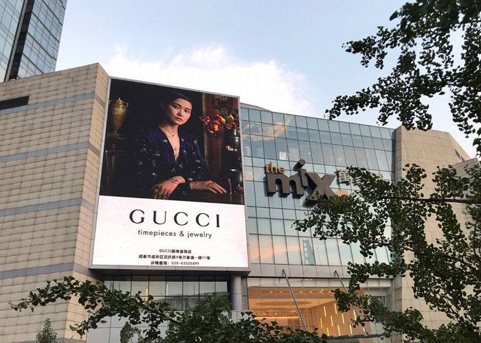 商场墙体广告位大型广告画面制作安装